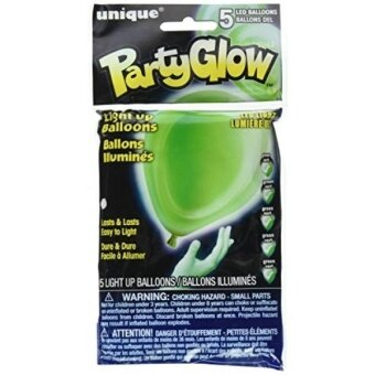 10 Lime Green LED Light Up Balloons  5ct - intl