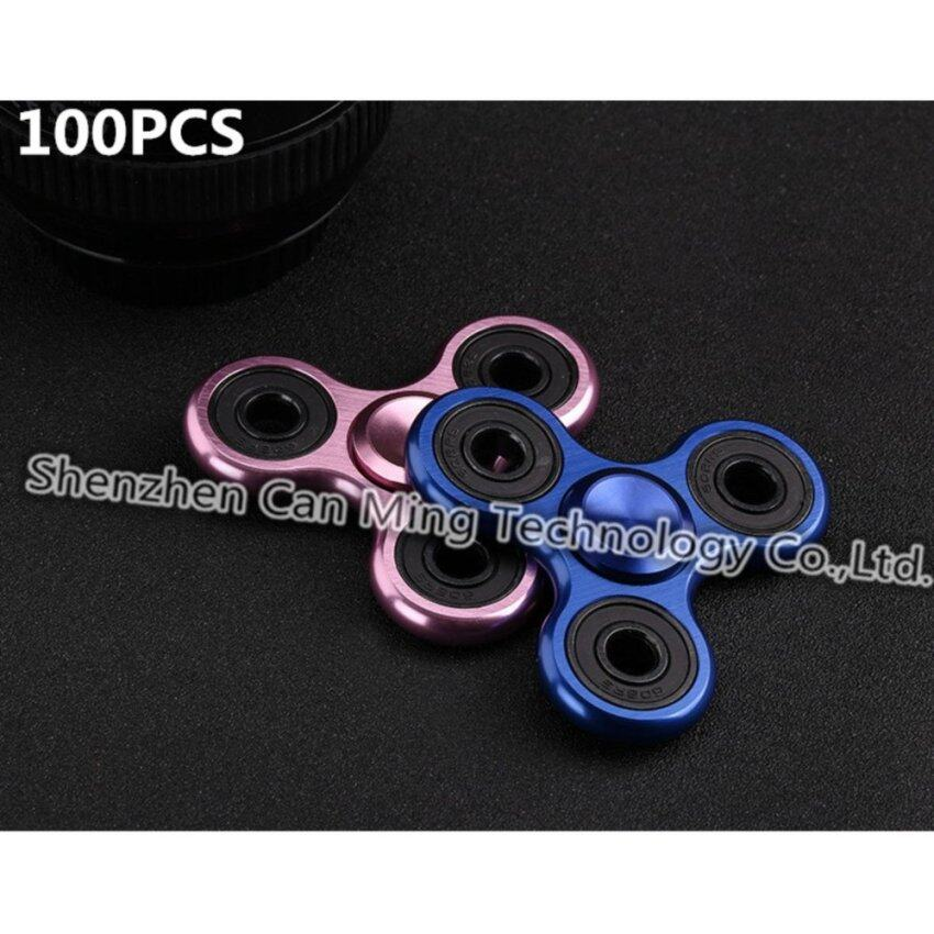 100pcs/lot Metal Tri Hand Fidget Spinner Spinning Top EDC Finger gyro rotating Toys Anti Stress Toy For Autism and ADHD DHL - intl