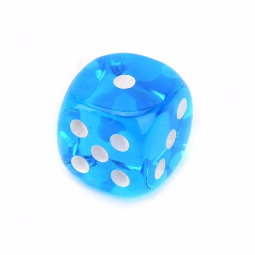 10pcs Square Transparent Dice Acrylic Craps Casino Bar Toy Game 14mm lightblue - intl image
