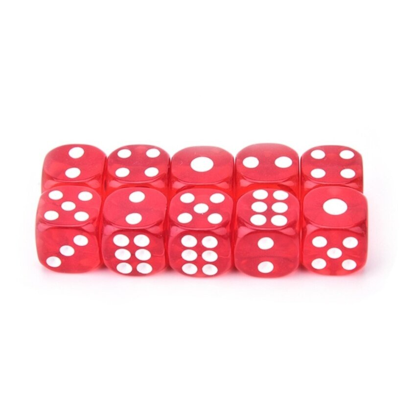 10pcs/Lot 13mm Clear Colorful Digital Dice Six Sided Spot Dice High Quality Game Tools Red - intl