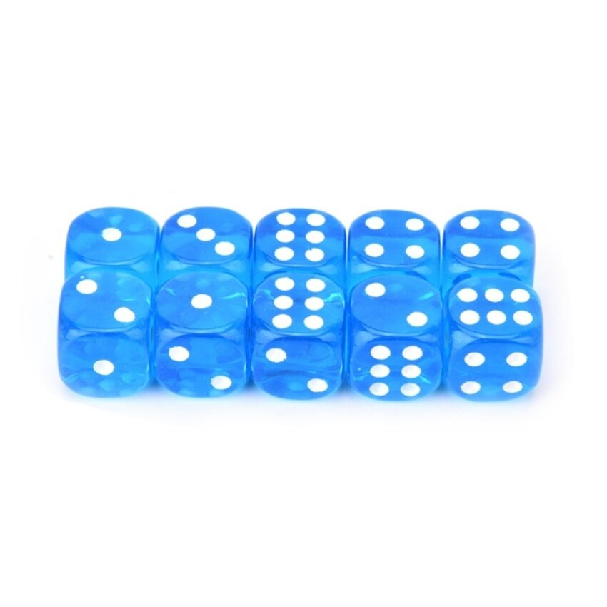 13mm 10pcs Transparent Six Sided Spot Dice Toys D6 Rpg Role Playing Game Blue - intl