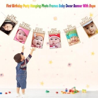 Harga 1st Birthday Party Hanging Photo Frames Props Baby Shower DecorBanner With Rope - intl