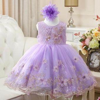 2016 fashion Baby Girls Lace Sequins Tulle Flower Party DressPrincess Girl Dress Gown Formal Wedding kids Dresses