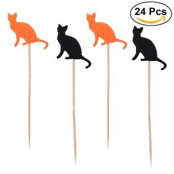24pcs/Pack Halloween Cake Decoration Cat Cake Picks Cupcake Toppers Banners Birthday Holiday Party Supplies - intl