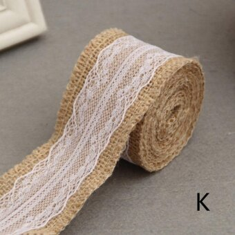 2meter Natura Jute Burlap Hessian Ribbon with Lace Trims Tape roll vintage rustic wedding decoration mariage wedding cake topper Style K - intl