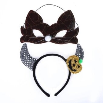 2pcs Set Kid Halloween Beast Ox Horn Head Buckle Hair ClaspMask(Black) - intl