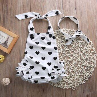 2pcs/Sets New Newborn Romper Baby Girl Infant Clothing SleevelessRomper Halter Belt Jumpsuit+Headband White - intl