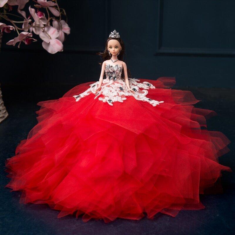 3D ชุดของขวัญงานแต่งงานขนาดใหญ่กระโปรงเจ้าหญิงตุ๊กตาบาร์บี้ตุ๊กตา