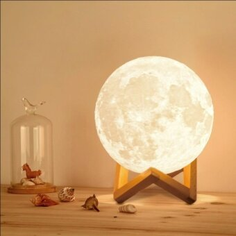 3D Printing Moon Light LED Moon Lamp Night Light for GiftDoubleColor yellow and white 15cm - intl