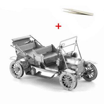 3D Puzzle Metal DIY Assembled Ford Vintage Car Old Fashion CarsModel Leisure Handwork Children Kids's Toys Gift & a Pincette