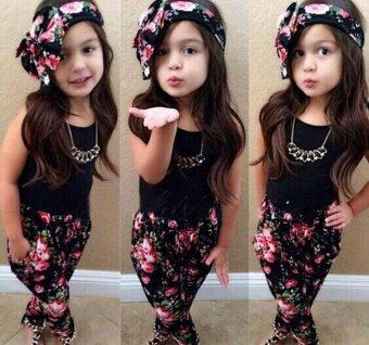 3PCS Toddler Kids Baby Girls Clothes Cute T-shirt Tops Pants\nHeadband flower Printed Casual Girl Clothing Outfits Set - intl
