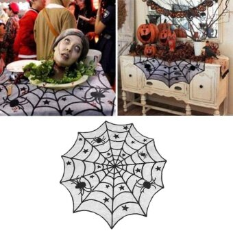 40 Halloween House Fireplace Decor Black Spider Web Lace TableCloth Cover - intl