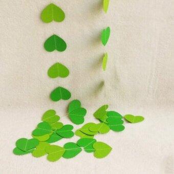 4M Hanging Paper Garland Heart Wedding Baby Shower Party Ceiling Banner Decoration Light Dark Green - intl