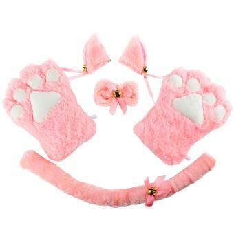 4pcs Cat Cosplay Fancy Costume Neko Anime Costume Lolita Gothic Set- intl