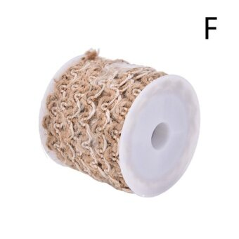 5M Natural Hessian Jute Twine Rope Burlap Ribbon DIY Craft Vintage Wedding Party Decor Style F - intl