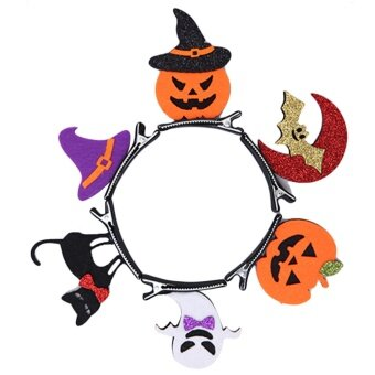 6 PCS Kids Adults Halloween Decoration Hair Head Clips Kit BatPumpkin Ghost Cat Hat Hair Pins Halloween Decoration CostumeAccessories - intl