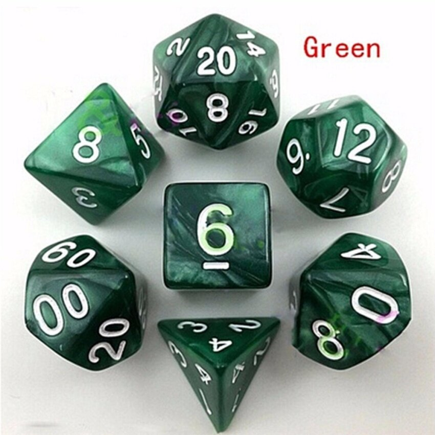 7pcs Polyhedral Acrylic Dungeons Dragons Dice Multiple Sides Role Playing Games Green 16mm-25.5mm - intl