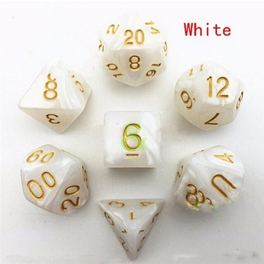 7pcs Polyhedral Acrylic Dungeons Dragons Dice Multiple Sides Role Playing Games White 16mm-25.5mm - intl