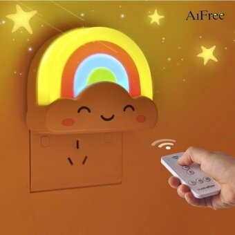 Harga AiFree LED Rainbow Colorful Intelligent light control mini baby room night light Decorative Lights Baby Bedside Lamp Children Toy - intl