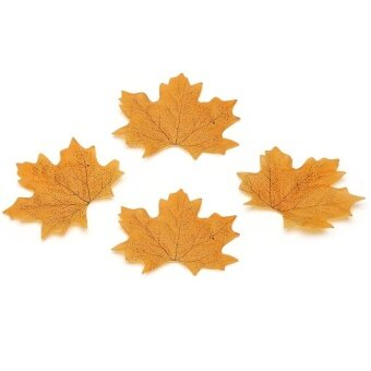 AJKOY Simulation Leaves Autumn Leaves Simulation Flower WeddingDecoration - Yellow - intl