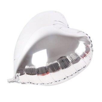 Aluminum Foil Balloon Hydrogen Balloon Wedding Heart Shape(Silver)- intl