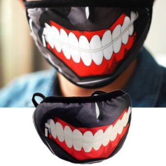 Anime Tokyo Ghoul Kaneki Ken Mask Cotton Prop Cosplay Ghost ZombieHalf Face - intl