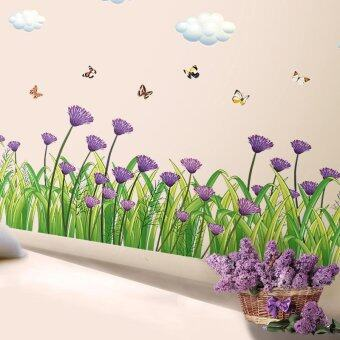 B Purple Flowers Skirting Line Wall Sticker Decal Home Paper PVCMurals House Wallpaper Bedroom Kids Babies Living Room Art PictureDecoration with Powerful Professional Package - intl