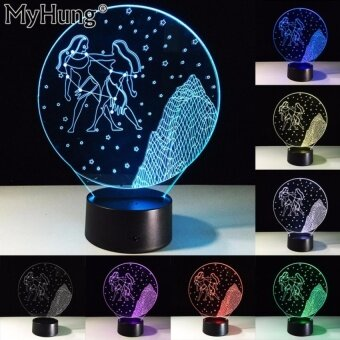 Best Friend Gifts Gemini 3D LED Bedroom Table Lamp TouchRemoteConstellation Starry Night Led Acrylic Vision Night LightRomanticLamp - intl