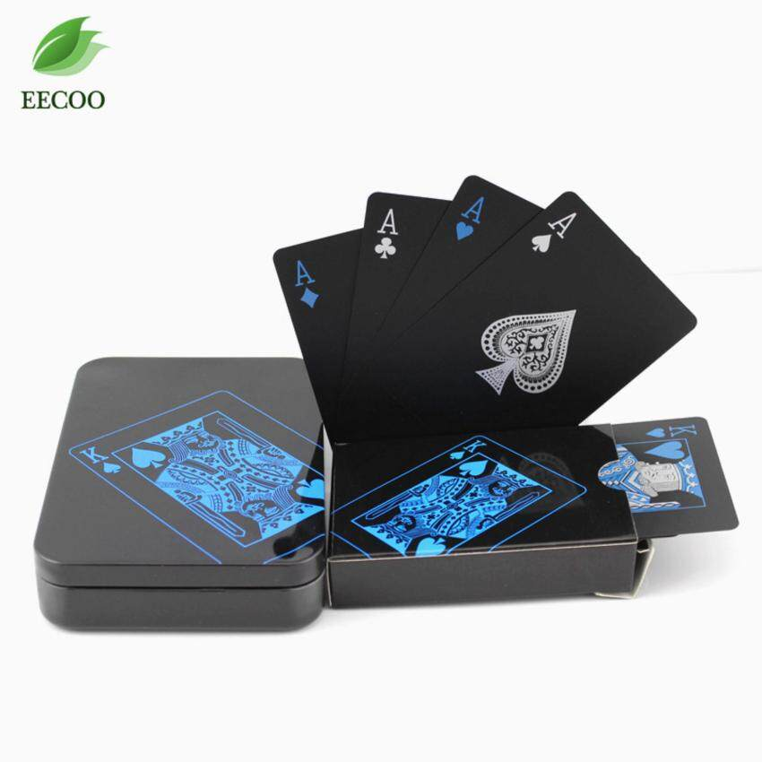 Black Plastic PVC Poker Waterproof Playing Cards Sets for Travel Swimming Paper Package Box - intl