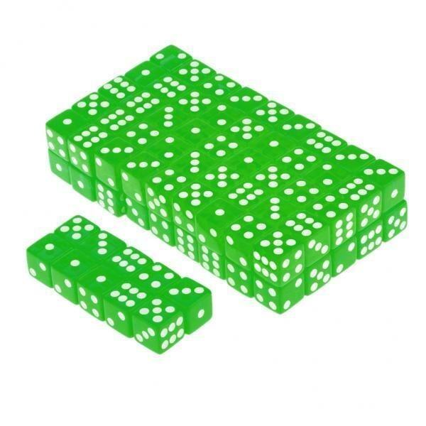 BolehDeals 100 x Translucent 16mm Six Sided Spot Dice RPG Games Green - intl