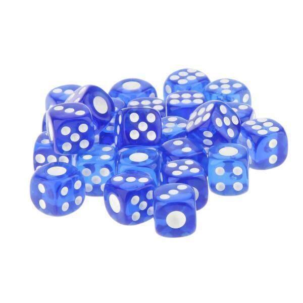 BolehDeals 25pcs 12mm Translucent Six Sided Spot Dice Games D6 D&D RPG Games Blue - intl