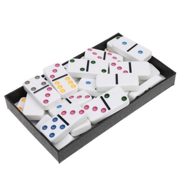 BolehDeals Double Six Dominoes Set of 28 Vintage Domino Travel Game Toy White Colorful - intl