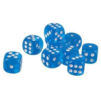 BolehDeals Pack of 10pcs Acrylic Six Sided D6 Dice for D&D TRPGParty Board Game Toys Blue - intl