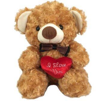ตุ๊กตาหมีสีน้ำตาลถือหัวใจ ขนกุหลาบนุ่มพิเศษ ขนาดกลาง (Brown)