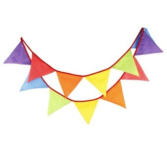 Creative Festival Party Cotton Decorative Triangle Flag Colorful -intl