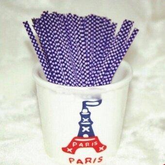 Cute 100Pcs Metallic Dot Twist Ties Wire Bag Fastener Sealing For Cake Pops Purple 0.04CM*10CM - intl
