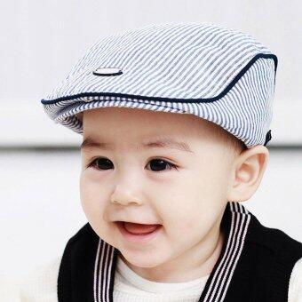 Cute Kids Baby Infant Boy Girl Stripe Beret Cap Peaked BaseballHat(Light Blue) - intl - 3