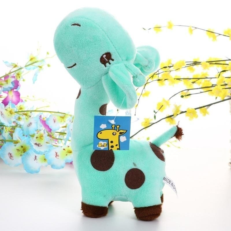 Cute Soft Animal Toy Giraffe Plush Doll Birthday Gift For kids 18cm Water Blue - intl