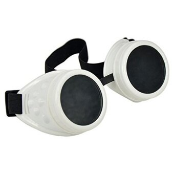 Cyber Glasses Vintage Steampunk Welding Goth Cosplay Goggles(White) - intl