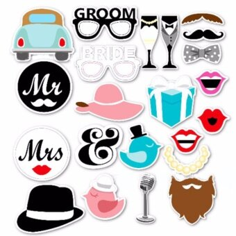 Daiku อุปกรณ์สำหรับงานปาร์ตี้ กระดาษพรอพสำหรับถ่ายรูป รุ่น Bridesand Groom 22 ชิ้น – Party paper 22pcs Dress-up AccessoriesPhotoBooth Props (Bride and Groom)