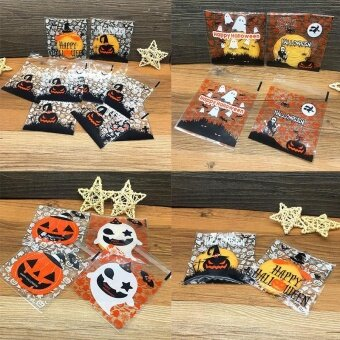 Decoration 100Pcs Halloween Party Sweet Candy Biscuit Gift Self-Adhesive Bag Packing - intl