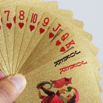 Dezhou PVC Plastic Poker Creative Matte Gold Foil WaterproofDuctile Durable Poker - intl