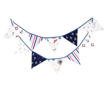 Diotem Fashion Cool Trend Pirate Theme Birthday Decoration TriangleFlag Blue - intl