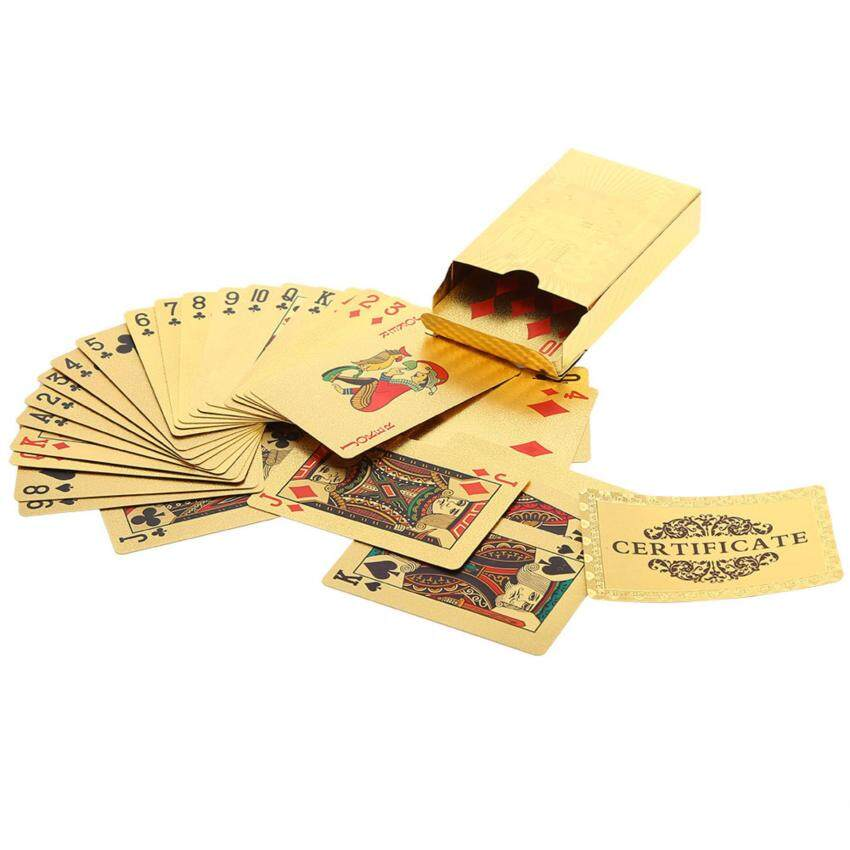 Durable Waterproof Plastic Fake Gold Foil Coated Poker Game Playing Cards(Euro) - intl