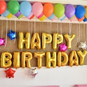 Eachgo Letter Happy Birthday Balloon Aluminum Foil MembraneBalloons for Home Party Decoration - intl