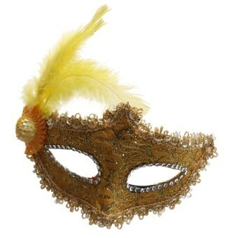 Fancy Dress Feather Lace Eye Mask Masquerade Halloweenparty Costume Yellow - intl