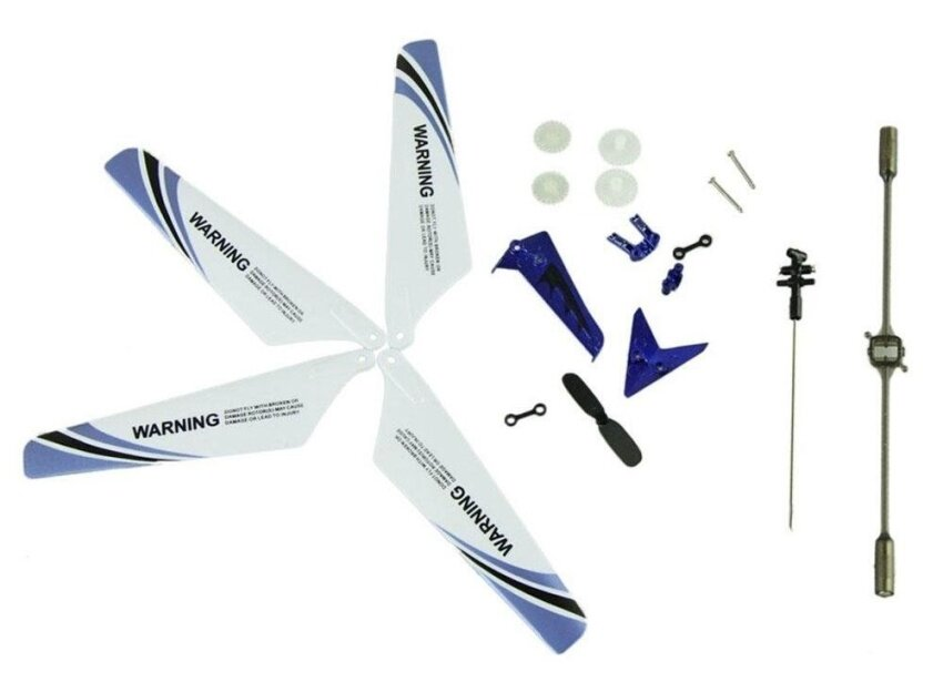 foorvof Wheel Gear Set Wings Tail Props Balance Bar Full Replacement Parts Set for Syma S107 RC Helicopter(Set of 19,Blue) - intl