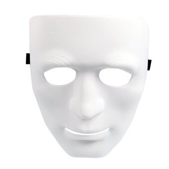 Full Face Plastic Plain Mask For Costume Party Dancing Hip Hopdance/Op(White) - intl