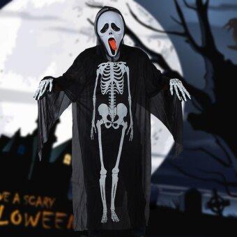 วันฮาโลวีนฮาโลวีนกะโหลกโครงกระดูก Ghost เสื้อผ้าเครื่องแต่งกายเสื้อคลุม/สยองขวัญหน้ากากผีเสื้อผ้า
