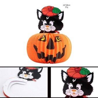 Halloween Decor Pumpkin Paper Lantern Lights Lamp HalloweenSupplies Scary - intl